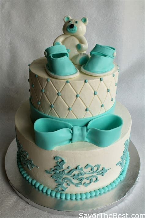 Baby Shower Cake Design with Fondant Baby Shoes and Teddy Bear   Savor the Best