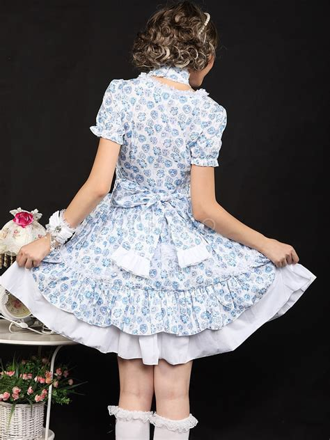 Dress Cotton Sweet Blue D203c3 sweet blue bows sleeves cotton blend dress milanoo
