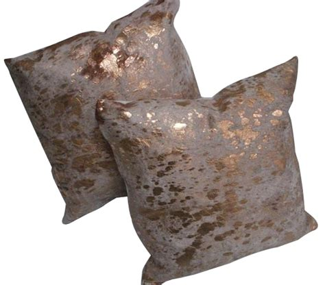 metallic cowhide pillow metallic cowhide dec pillows