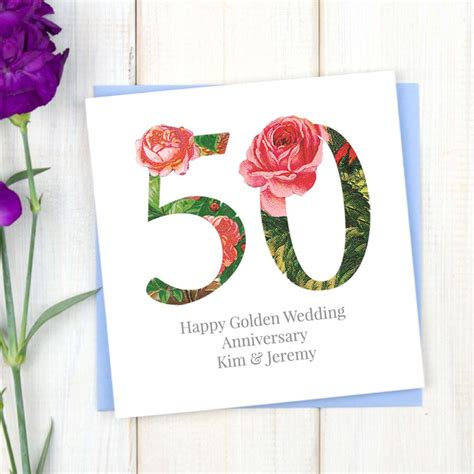 50th wedding anniversary personalised cards personalised golden 50th wedding anniversary card by chi
