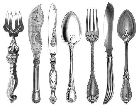 Pink Kitchen Knives antique cutlery engravings free clip art old design