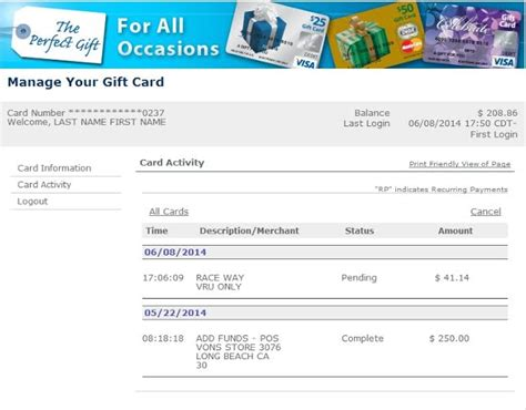 Visa Gift Card Statement - walmart gift card reload hack photo 1 noahs gift card