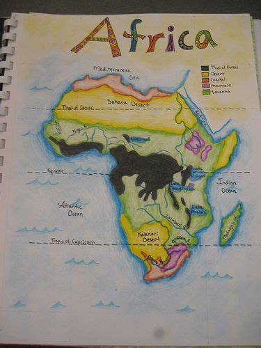 africa map 7th grade waldorf 7th grade geography map of africa age 13