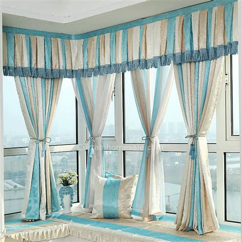 blue curtain valance classic blue and beige poly cotton bay window curtain no