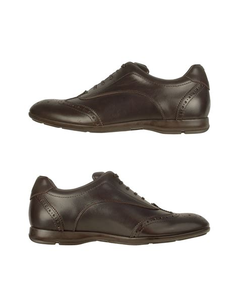 wingtip sneakers moreschi brown leather wingtip sneaker shoes in brown