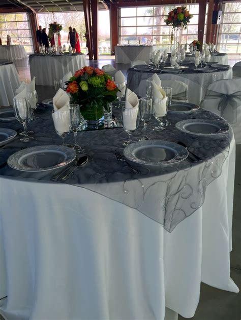 Organz Square Grey ivory table cloth grey organza overlay ivory napkin gray silver or black weddings at park
