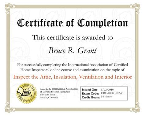 home inspection specific certificates muskoka