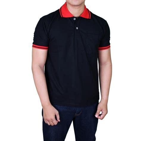 Polo Shirt Pria Polos Pendek Hitam gudang fashion kaos terbaru polo pria hitam kerah merah