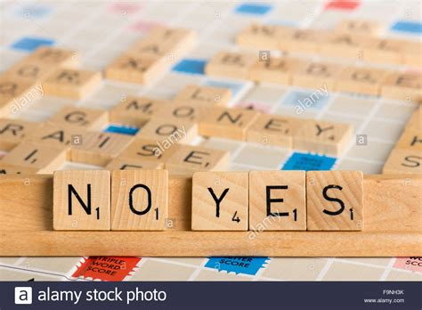 Scrabble Nein Ja Stockfoto Bild 92058167 Alamy