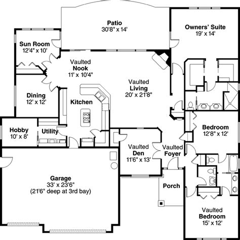 Slab Foundation Floor Plans by Traditional Style House Plans 2700 Square Foot Home 1