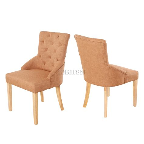Brown Fabric Dining Chairs Foxhunter New Brown Linen Fabric Dining Chairs Scoop Tufted Back Office Dcf04 X2 Ebay
