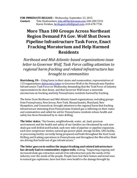Stop Release Letter Definition Press Release From Anti Fossil Fuel Organizations Asking Pa Gov Wolf