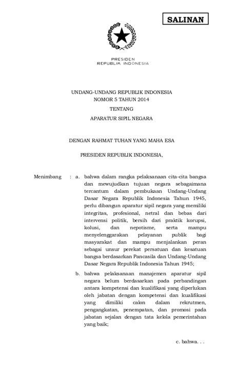 Undangundang Nomor 5 Tahun 2014 Tentang Aparatur Sipil uu no 5 tahun 2014 tentang aparatur sipil negara