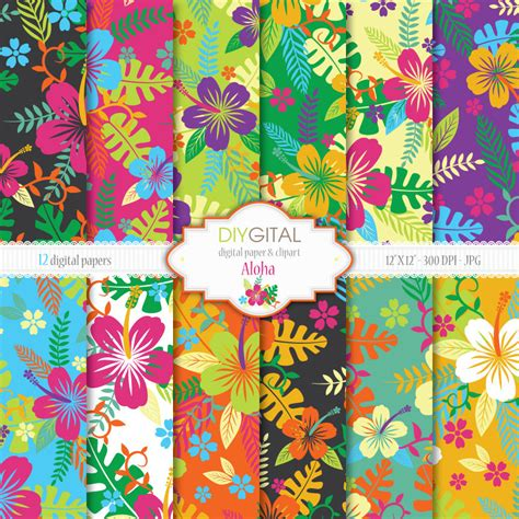 hawaii pattern photoshop aloha hawaiian style digital paper set with hibiscus