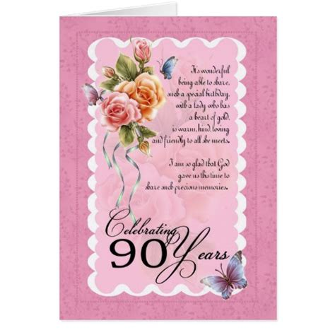 90th Birthday Cards 90th Birthday Greeting Card Roses And Butterflie Zazzle