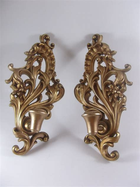 Vintage Sconces Wood Candle Sconce Pair Vintage Wall Mount Gilt By Acornabbey