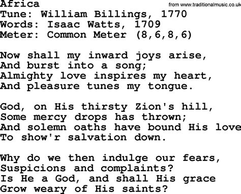song in sacred harp song africa lyrics and pdf