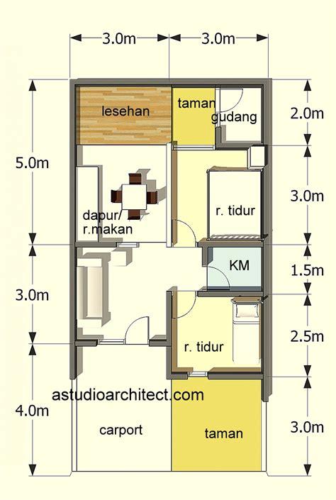 denah rumah type 60 lt 72 m2