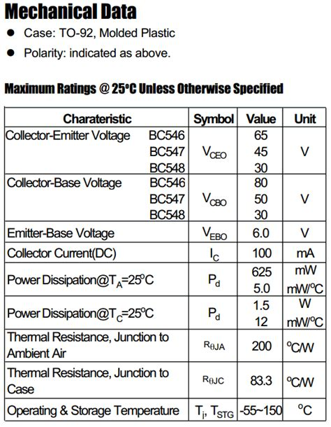 transistor bc547 pdf bc547 datasheet bc547 pdf pinouts circuit micro commercial components