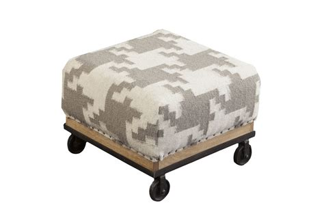 Houndstooth Ottoman Surya Houndstooth Foot Stool Grey At Gardner White
