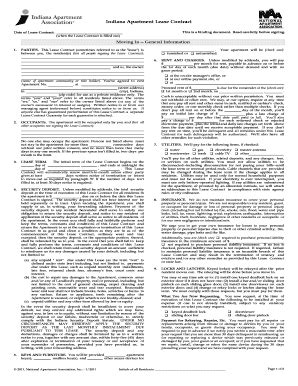 Apartment Lease Indiana Indiana Apartment Lease Fill Printable Fillable
