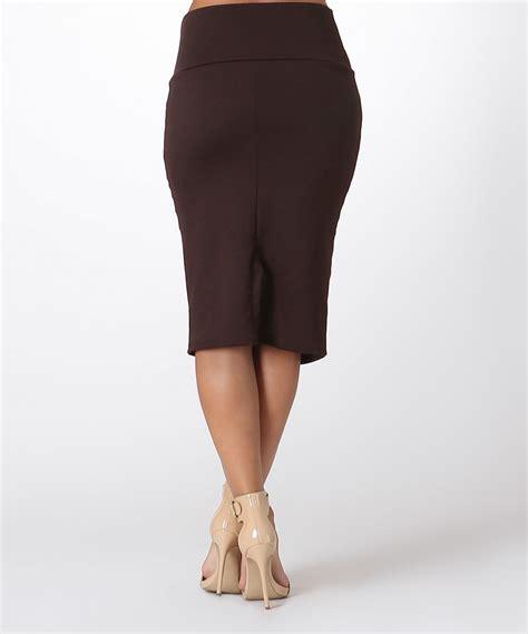 bold beautiful brown high waist pencil skirt zulily