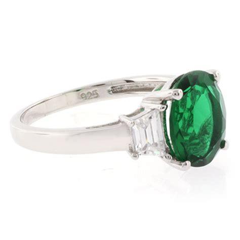 big emerald sterling silver ring silverbestbuy