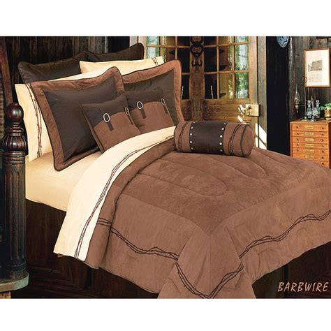 ranch barbwire western bedding comforter dark tan