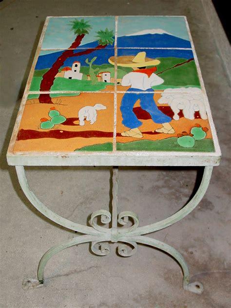 Table San Jose by San Jose Pottery Scenic Tile Table 172 Vintage