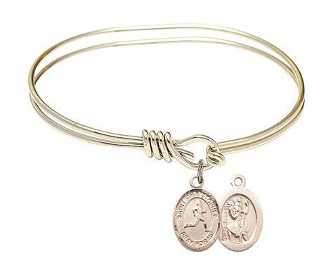 eye hook st christopher track and field bangle charm