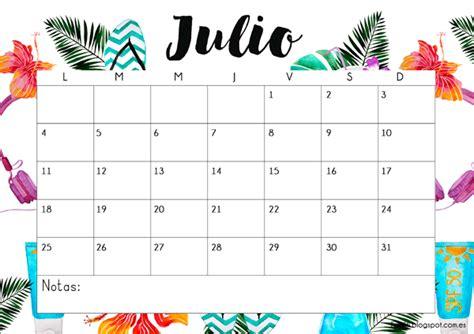 Calendario Julio 2017 Calendarios 2017 Para Ni 241 Os Con Dibujos Para Descargar E
