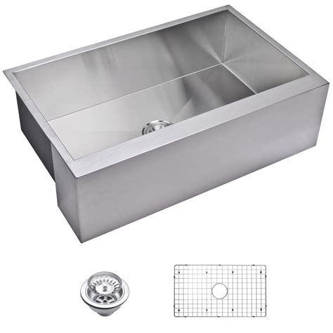 sink grate stainless steel water creation farmhouse apron front zero radius stainless