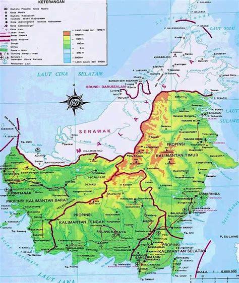 Borneo Ukuran Besar peta pulau kalimantan
