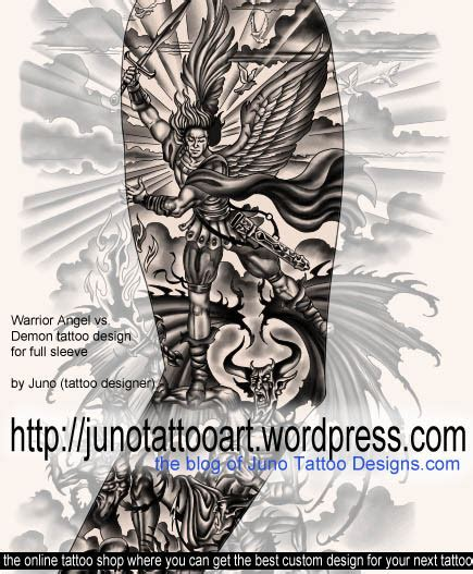 angel vs demon tattoo designs arm tattoos custom tattoos made to order by juno