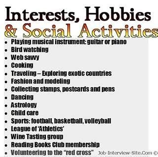 .cv resume hobbies interests