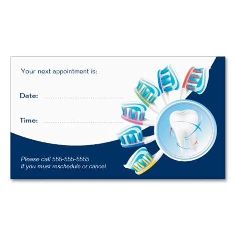 Dental Appointment Card Template Free by Dental Appointment Card Dentist Business Cards