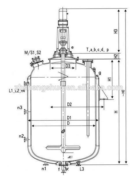 machine layout of jacket f3000l jacket glass lined steam heated continuous stirred
