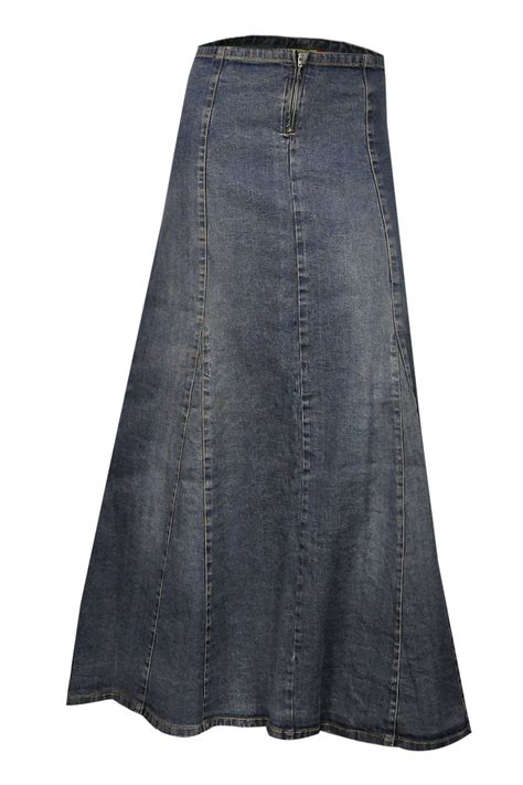 a line blue stretch denim ankle length maxi skirt plus
