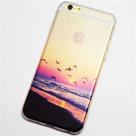 Softcase Iphone 6iphone 6 Plus 2 seagulls flying on the at sunset iphone 6 iphone