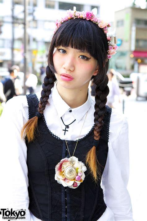 japanese hairstyles nyc aris mukaide in harajuku w braids sheer skirt vintage