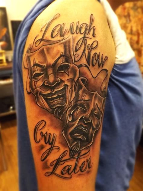 cry now laugh later tattoo designs laugh now cry later tattoos black and grey