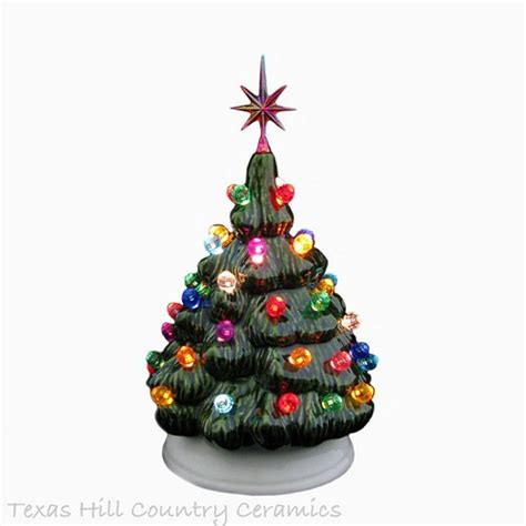 ceramic christmas tree little green lighted tree color