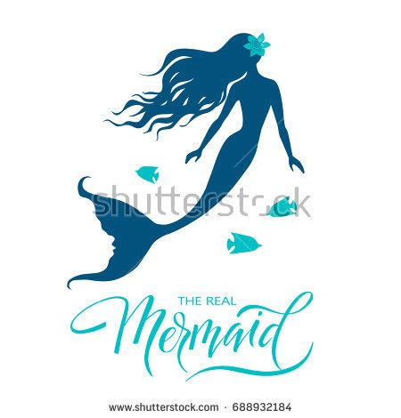 design a mermaid logo mermaid hand drawn vector silhouette illustration stock