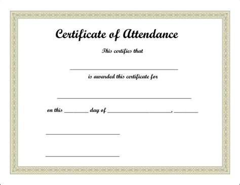 certificate of attendance template excel xlts