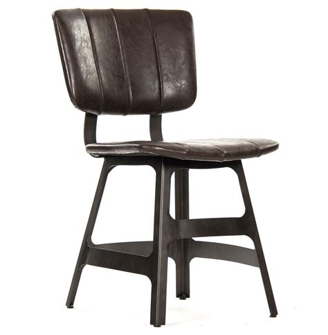 robertson rustic industrial espresso brown leather iron dining side chair kathy kuo home