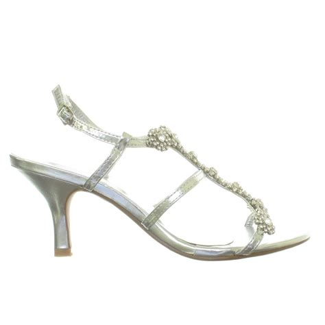 silver sandals for wedding low heel womens silver diamante low mid heel wedding bridal