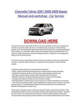 motor auto repair manual 2008 chevrolet tahoe spare parts catalogs chevrolet tahoe 2007 2008 2009 repair manual and workshop car service by chevroletservice issuu