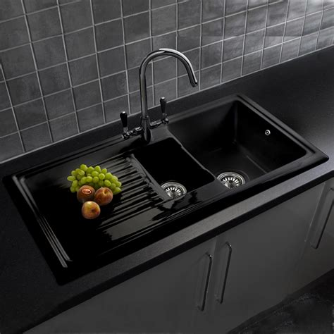 Black Ceramic Kitchen Sinks Reginox Black Ceramic 1 5 Bowl Kitchen Sink Tap Pack Ebay