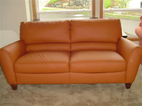 couch orange orange leather couch furniture homesfeed