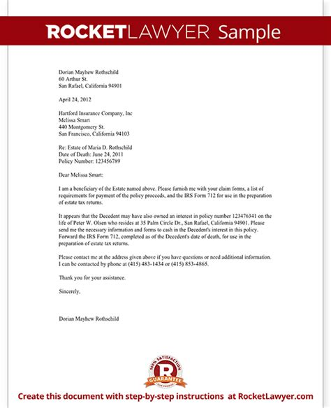 Insurance Policy Letter Of Credit insurance proceeds letter template with sle